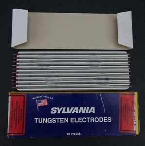 10 Pc Sylvania 2 Thoriated Tungsten Electrodes 3 32 X 7 red Tig Made In Usa