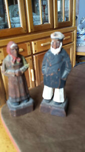 Pre 1940 Pair Of Wooden Statues