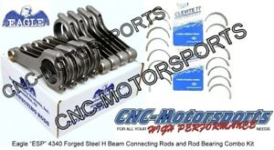 Sb Chevy 350 6 125 Eagle Rods H Beam With Clevite Rod Bearings
