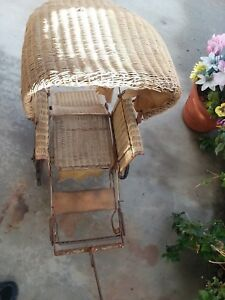 Rare 1920 S Full Size Antique Wicker Baby Carriage Look