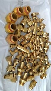 Large Lot Of Brass Fittings 100 Pieces Various Sizes Plumbing Hydraulic Bg8