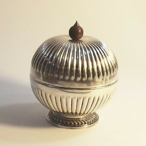Barker Brothers Silverplate Birmingham England Domed Fluted Butter Dish Sphere