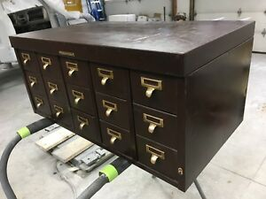 Rare 15 Drawer Sole Makers Library Bureau Steel Card Catalog Original Hardware