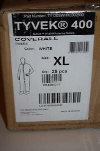 New Tyvek 400 Dupont Coveralls Coverall Lot Of 25 Size Xl
