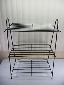 Vintage Mid Century Modern 3 Tier Wire Metal Magazine Or Plant Rack Shelf Stand