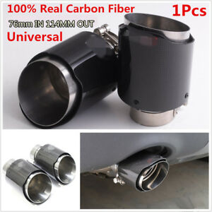 1pcs Glossy Carbon Fiber Stainless Steel Car Exhaust Tip Muffler Pipe 76mm Inlet