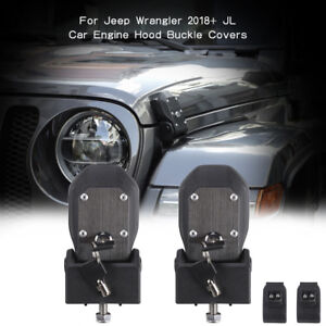 Car Hood Lock Latches Buckle Pins Catch With Key Kit For 2018 Jeep Wrangler Jl