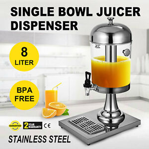 8l Juice Drink Beverage Dispenser Bar Wine Stainless Steel With Drip Tray Uk