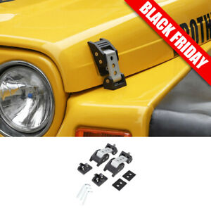 Steel Hood Latches Hood Lock W Strong Aluminum Alloy Catch For Jeep Wrangler Tj
