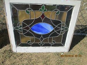Antique Vintage Stained Glass Window Green Border Blue Center Design We Ship