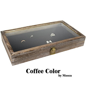 Large Wood Watch Box Glass Top Jewelry Ring Display Wooden Organizer Case Oak