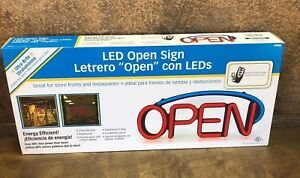 New Hillman 848889 Led Open Sign With Remote Control Red blue 22 5 9 25 2 25