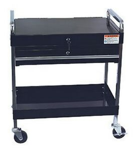 Service Cart With Locking Top And Drawer Black Suu 8013abk Brand New