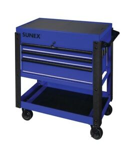 3 Drawer Service Cart With Sliding Top Blue Suu 8035xtbl Brand New