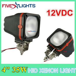 Pair 4 In 35w Flood Beam Hid Xenon Light Fit Off Road Boat Roof Truck Vehicle