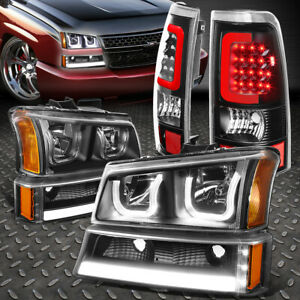 For 03 07 Silverado sierra Led Drl U halo Head red 3d Bar Tail Light Black amber