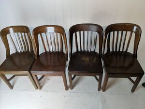 4 Antique Vintage Banker Library Side Chairs Set Of Four