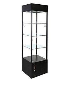 Square Tower Display Showcase Assembled Led Lighted Fixture Lock Light Black New