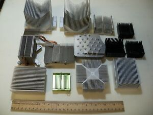 Lot Of 13 Assorted Aluminum Heat Sinks Scrap Craft Large And Small 7 Lb 4 Oz