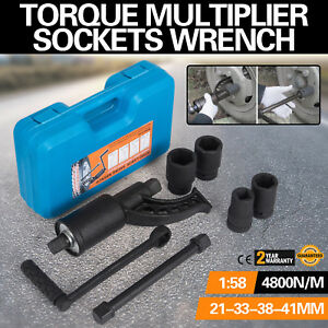 1 58 Torque Multiplier Set Wrench Lug Nut W 4 Sockets Labor Extension Remover