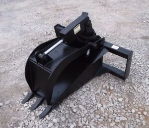 Bobcat Skid Steer Attachment Heavy Duty Stump Tooth Bucket Grapple Free Ship