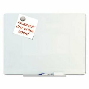 Mastervision Magnetic Glass Dry Erase Board Opaque White 48 X 36 bvcgl080101