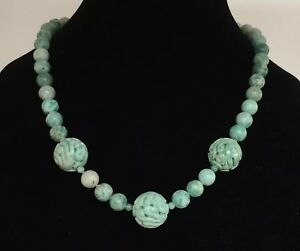 Hand Carved Jade Bead 20 Inch Necklace 96 Grams Chinese Antique Vintage Estate