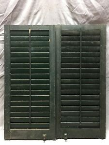 Small Pair Antique House Window Wood Louvered Shutters 16x36 Shabby Vtg 29 19m
