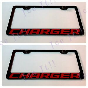 2x Charger Hemi Dodge Red Stainless Steel Black License Plate Frame W Caps