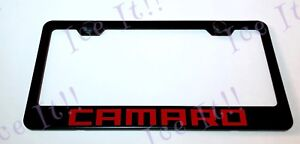 Camaro Rs Ss Chevy Red Stainless Steel Black License Plate Frame W Caps