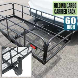 500lb Load Folding Luggage Cargo Basket Carrier Truck Trailer Hitch Rack Durable