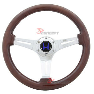 350mm Steering Wheel Classic Wood Grain Sport Chrome Polish Spokes Blue H Emblem