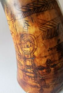 Early Original 1819 Native American Indian Carved Scrimshaw Musket Powder Horn