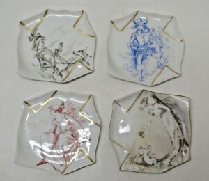 4 Antique Folded Napkin Handkerchief Victorian Porcelain Plates Marked