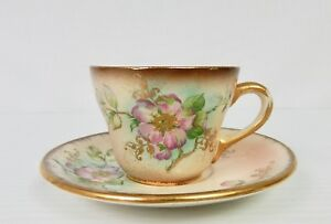 Vintage Lecot China Hand Painted Dusty Blossom Demitasse Cup Saucer