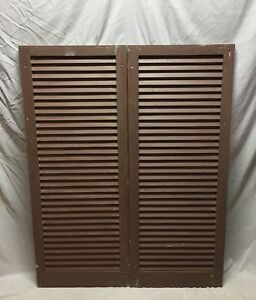 Medium Pair Antique House Window Wood Shutters 21x52 Shabby Vtg 57 19d