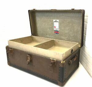 Antique 1930s Belber Trunk W Tray Vtg Military Footlocker Storage Coffee Table