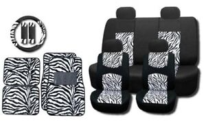 White Zebra Mesh 15pc Set Car Seat Covers And Floor Mats