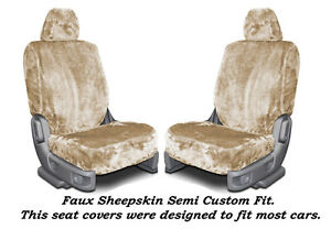 Sand Color Faux Sheepskin Soft Plush Low Back Semi Custom Seat Covers