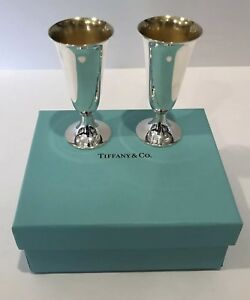 Minty Vintage Tiffany Co Sterling Silver Goblets Vodka Shot Cups Set Of 2