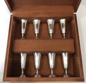 Vintage Cartier Sterling Silver 925 Cordial Shot Cups Set In Original Wood Box