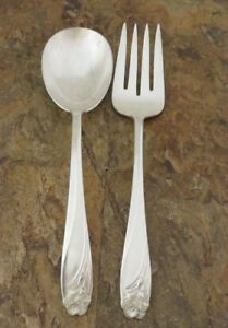 Is Daffodil Casserole Spoon Meat Fork 1847 Rogers Silverplate Flatware Lot N