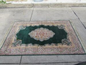 Vintage Karastan Green Kirman Medallion 118x69 Size Rug Lovely Design Pics