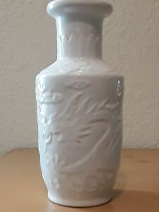 Rare Beautiful Chinese White Dragon Glaze Porcelain Dragon Vase