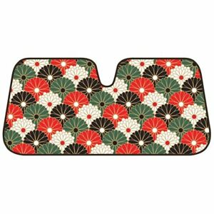 Bdk Fold Up Sunshade For Windshields Accordion Large Auto Shade Oriental Flowers