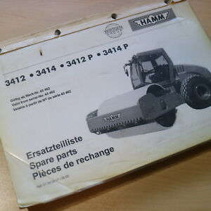 Hamm 3412 3414 P Roller Compactor Parts Manual Book Catalog Spare Smooth Drum