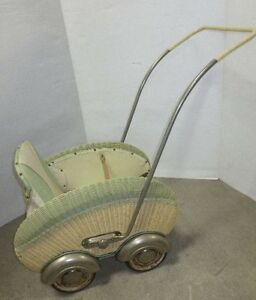 Antique Stroller Art Deco Fabulous Baby Doll 1920 1930 Wicker Buggy Carriage