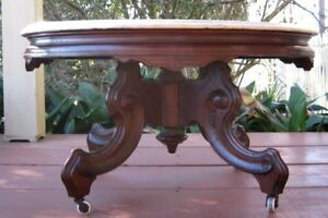 Antique Victorian American Coffee Table With Marble Top