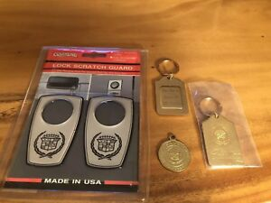 Vintage Lot Cadillac Crest Keys Chains Fobs Lock Scratch Guard