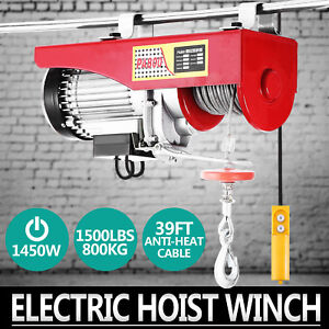 1500lbs Electric Hoist Winch Lifting Engine Crane Garage Wire Motor Cable Newest